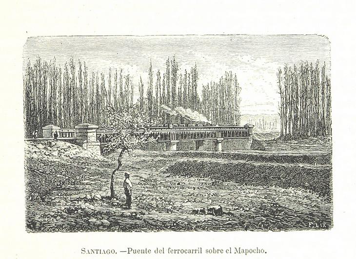 Santiago - Puente de ferrocarril sobre el Mapocho