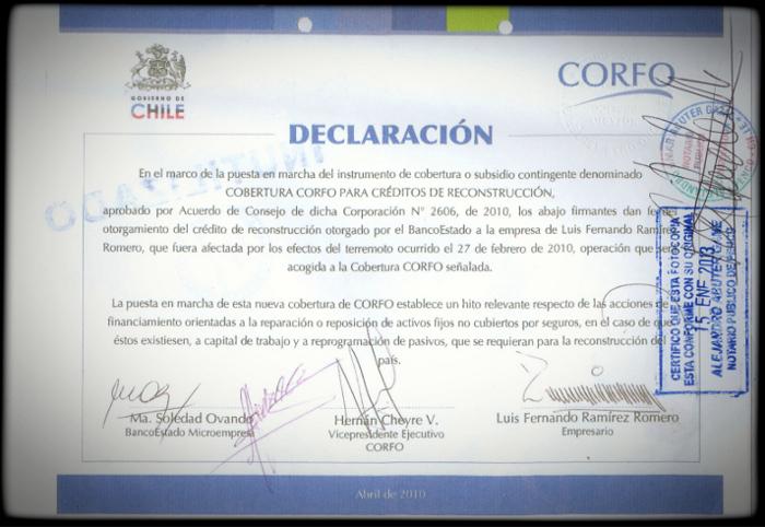 Certificado otorgado a don Luis Ramírez