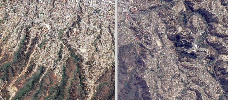 Antes y después desde el satélite | Fuerza Aérea de Chile