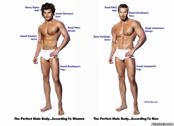 Hombre perfecto según mujeres (izquierda) y hombres (derecha) | Bluebella