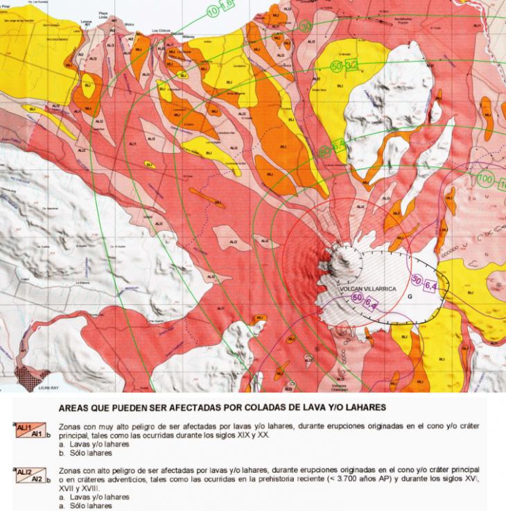 Ejemplo de un mapa del Volcán Villarrica