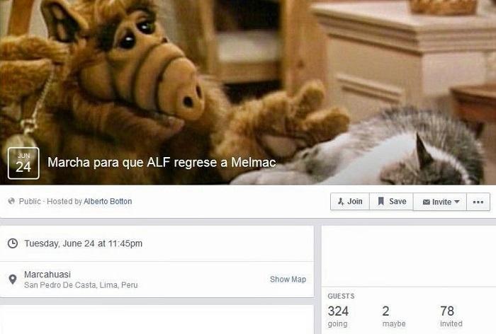 Marcha para que ALF regrese a Melmac | Facebook