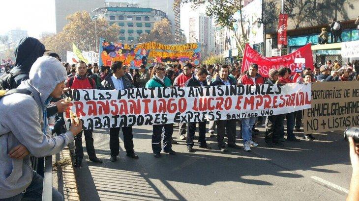 Trabajadores del Transantiago en marcha en Santiago | Sacha Rojas /@sachor