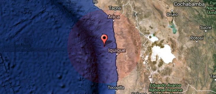 Epicentro de los sismos en el norte