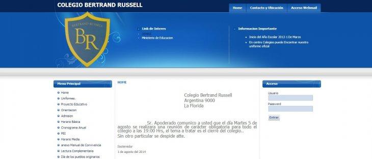 Sitio web del colegio Bertrand Russel