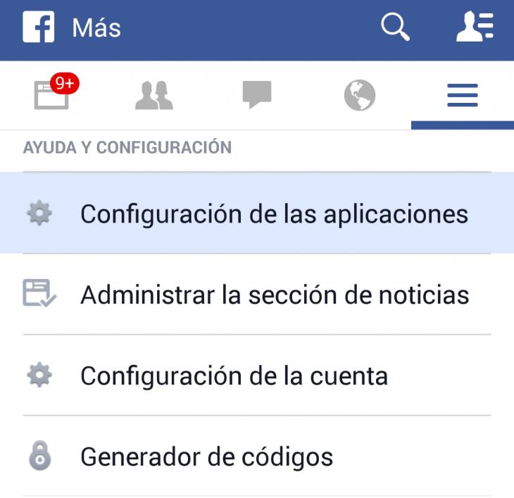 Captura app de Facebok