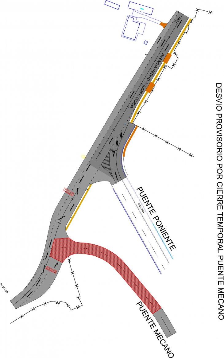 Planta Aérea Trabajos Puente (en rojo y achurado la zona que se interviene)