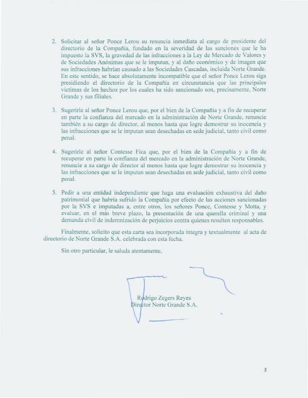 Carta enviada por Rodrigo Zegers
