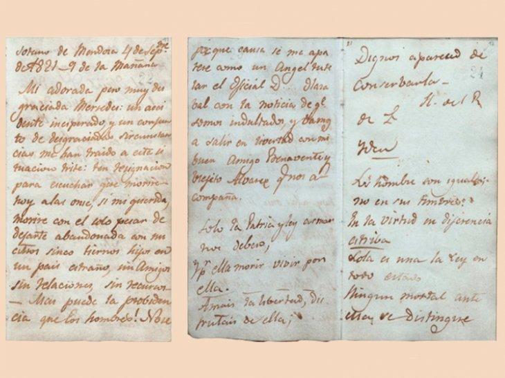 Carta de José Miguel Carrera a su esposa