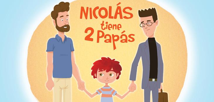 Dibujos de dos papás y un niño en medio cogidos de la mano.