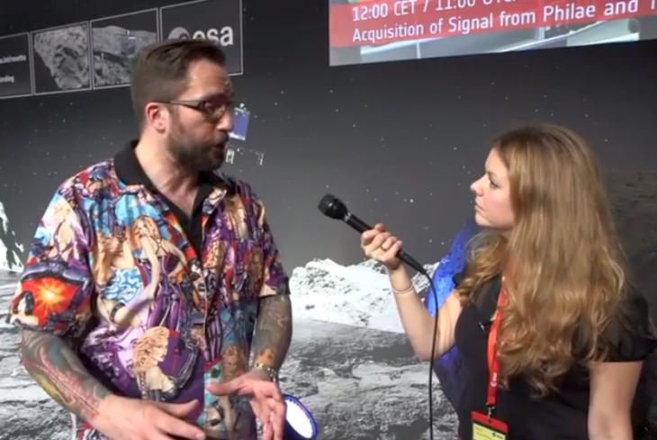 Matt Taylor en la transmisión de ESA / The Verge