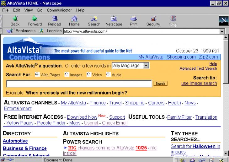 AltaVista en 1999