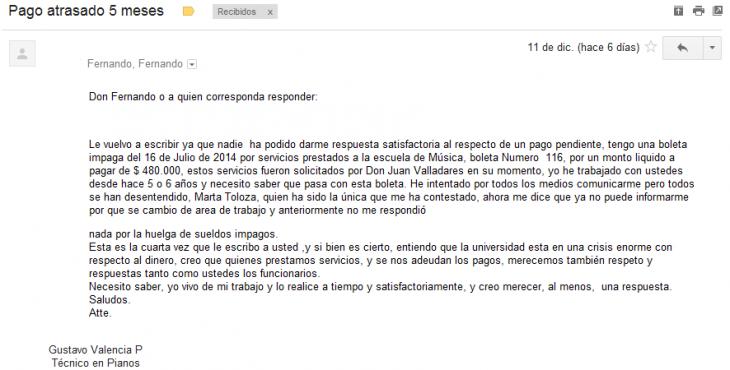 E-mail de proveedor por trabajos en la U. Arcis