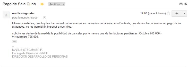 E-mail de Sala Cuna