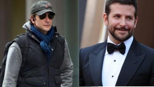 Bradley Cooper sin y con barba