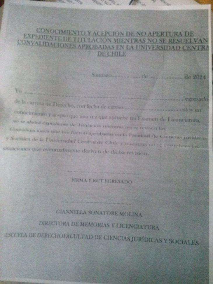Carta para rendir examen de grado