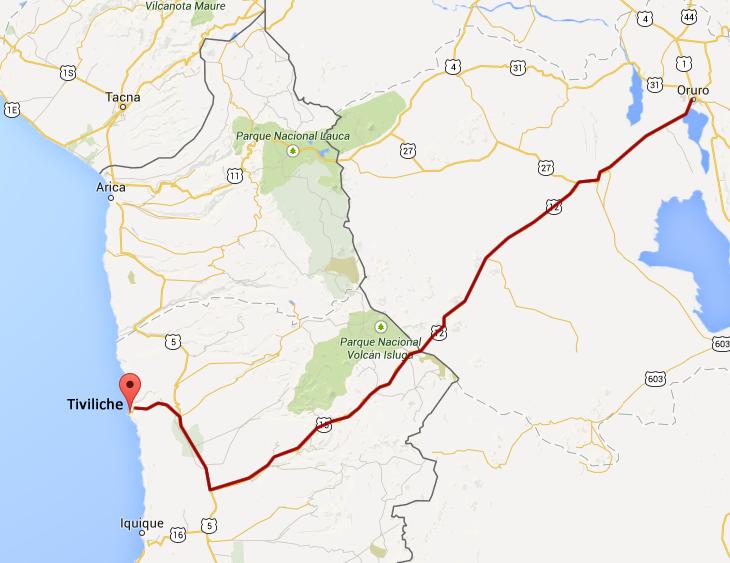 Corredor vial exigido por Bolivia para comunicar Tiviliche con Oruro