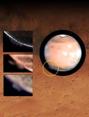 La nube formada sobre la región Terra Cimmeria en Marte