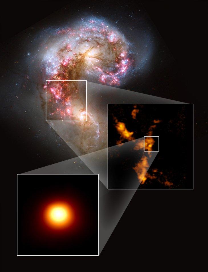 NASA/ESA Hubble, B. Whitmore | K. Johnson, U. Va; ALMA | B. Saxton
