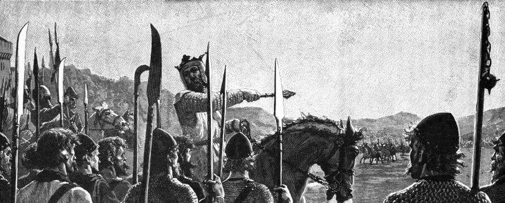 Bruce y sus tropas tras la batalla de Bannockburn | Edmund Bleigh, Leighton (1909) (DP)