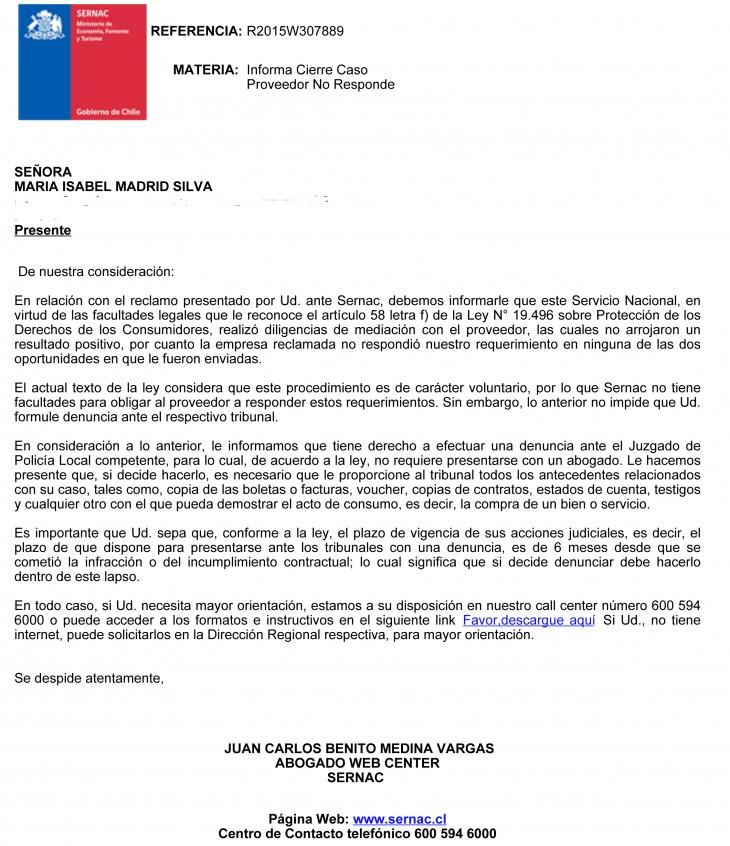 Carta Sernac | María Isabel Madrid