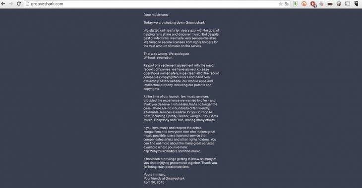 El mensaje de despedida de Grooveshark.com
