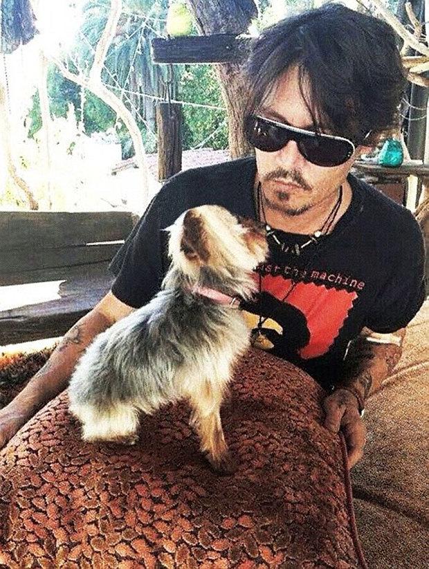 Johnny Depp con uno de sus perros | Redes sociales