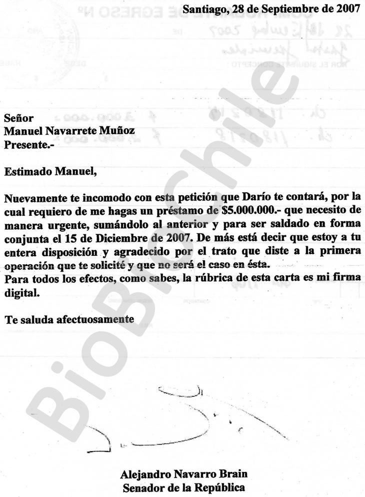 Carta del senador Navarro