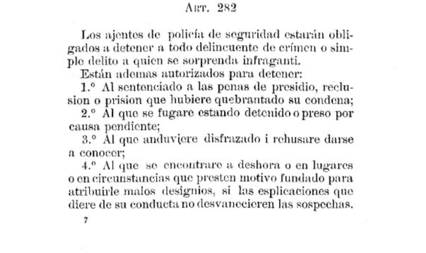 Detención por sospecha en Código de Procedimiento Penal de 1906