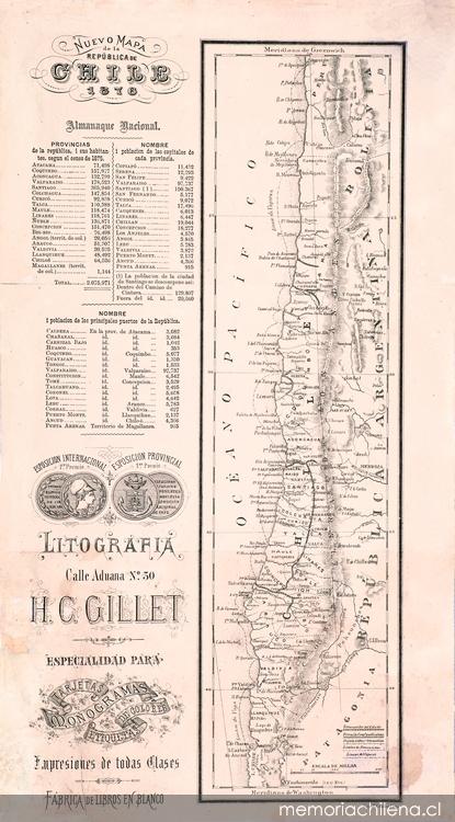 Mapa de Chile en 1876 | Memoria Chilena