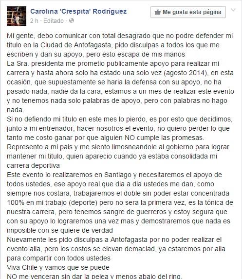 Facebook | Carolina Rodríguez