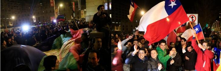 Detractores (a la izaquierda) y adherentes (a la derecha) se manifestaban y eventualmente se enfrentaban en Alameda | Agencia UNO
