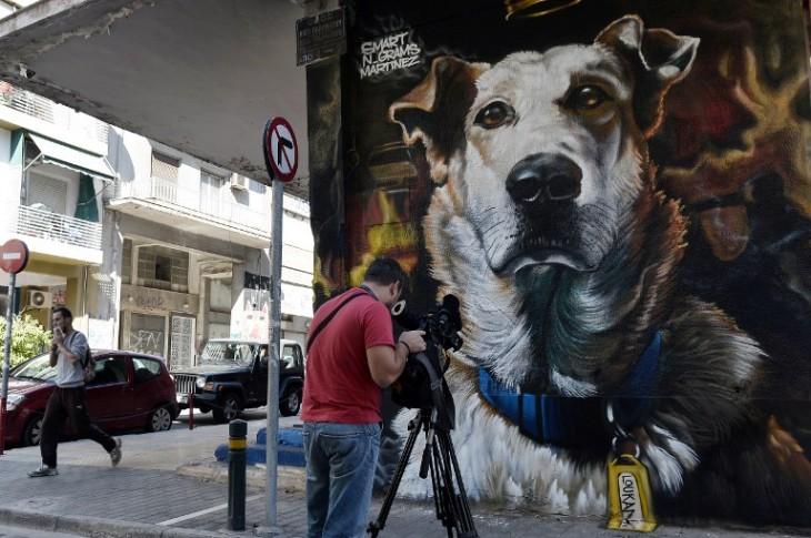Mural en honor a Loukanikos | Louisa Gouliamaki | Agencia AFP