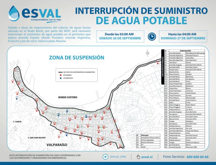 Plano corte de agua potable en Valparaíso (Click para ampliar)