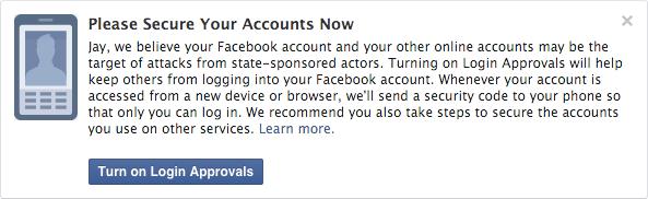 El mensaje que desplegará Facebook en caso de ser espiado | Facebook Security