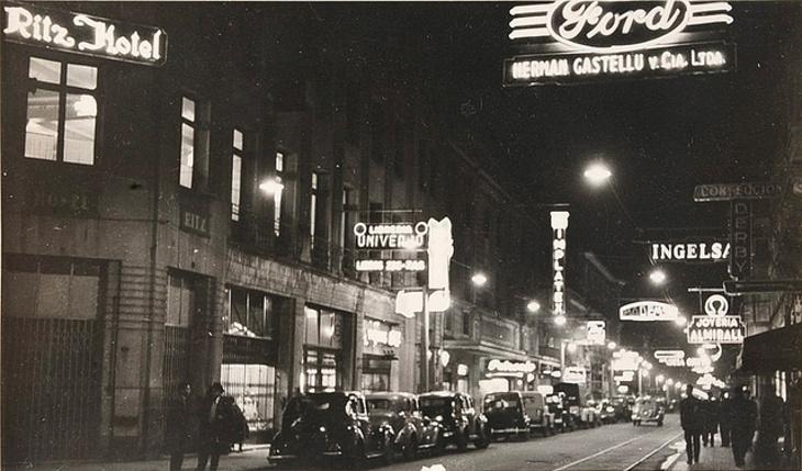 Calle Barros Arana vista desde Aníbal Pinto en 1955
