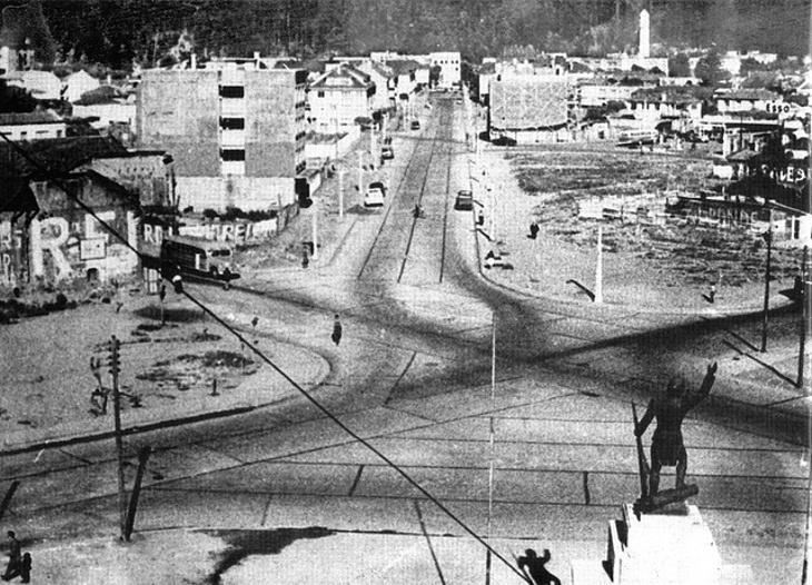 Vista de la futura Diagonal Pedro Aguirre Cerda en 1958 desde los Tribunales