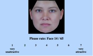 """Pantallazo del experimento online """"Rate That Face"""" que se empleó para configurar la prueba del estudio. /Germine et al"""