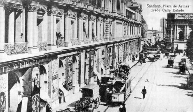 Plaza de Armas de Santiago desde Calle Estado | Memoria Chilena