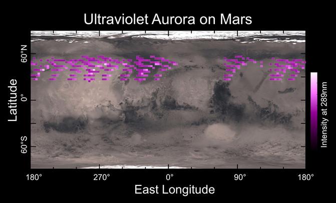Auroras detectadas en Marte durante cinco días en 2014 en el espectro ultravioleta. / Universidad de Colorado