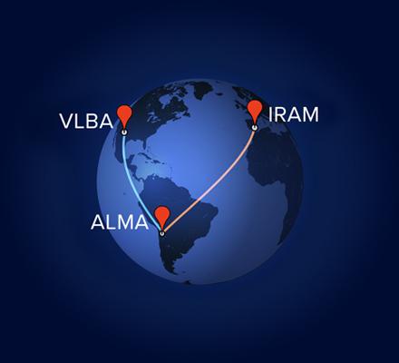 ALMA combinó su poder con los radiotelescopios IRAM y VLBA en observaciones VLBI separadas. Crédito: A. Angelich (NRAO/AUI/NSF)