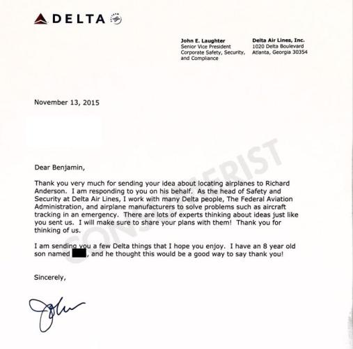 La respuesta de John E. Laughter, vicepresidente de Seguridad de Delta. | Consumerist.com