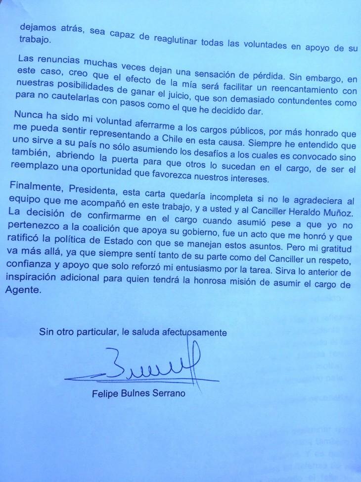 Carta de renuncia de Felipe Bulnes