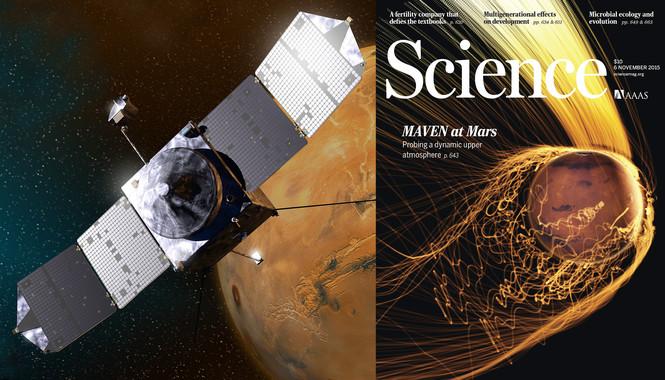 Los datos de la  sonda MAVEN son portada esta semana en la revista Science, donde se muestran las trayectorias de los iones que escapan de la atmósfera de Marte por la radiación del viento solar. Los iones más energéticos son los de color más blanco, como los del penacho de la parte superior. / NASA/Valerie Altounian/Science/X. Fang/MAVEN