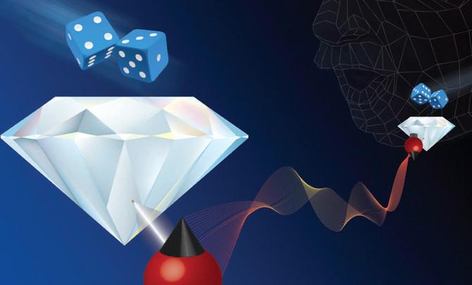 El experimento para demostrar la conexión de las partículas se realizó con dos electrones en el interior de pequeños diamantes. / ICFO