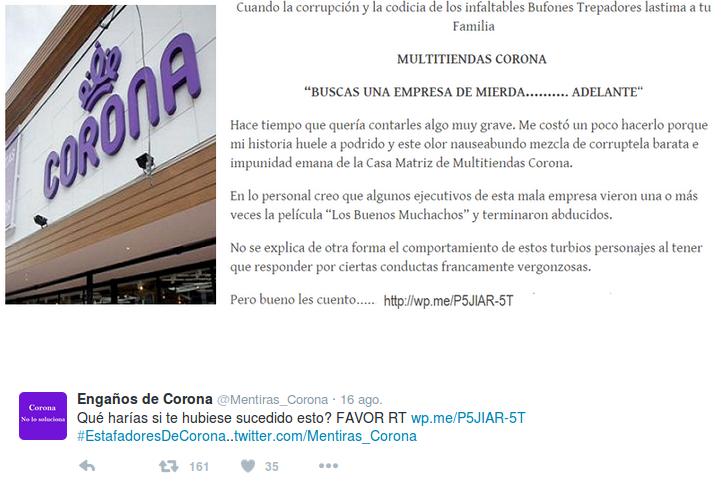 Comentario publicado en Twitter en contra de Corona