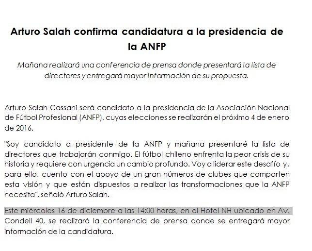 Comunicado Arturo Salah