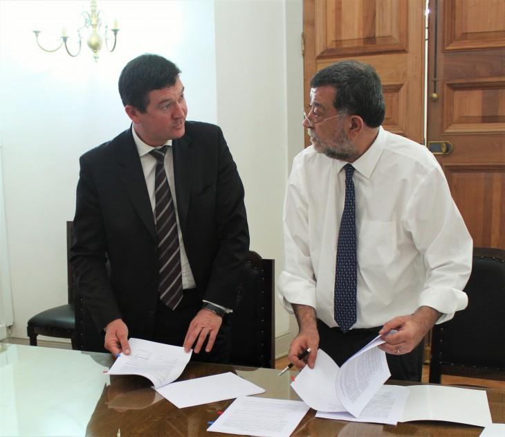 Oliver Flögel, gerente general de Microsoft Chile junto al Subsecretario del Interior, Mahmud Aleuy | Microsoft Chile