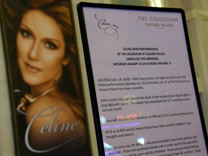 Caesars Palace rince un tributo al esposo de  Celine Dion | AFP