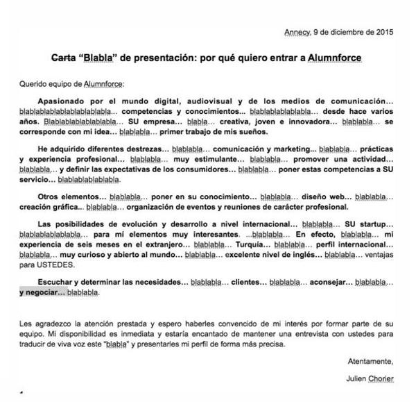 """Blablabla"""": La peculiar carta de presentación con que un joven ..."""